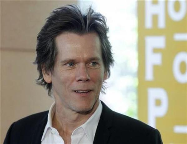 Kevin Bacon seen with a much fuller face on his UK trip